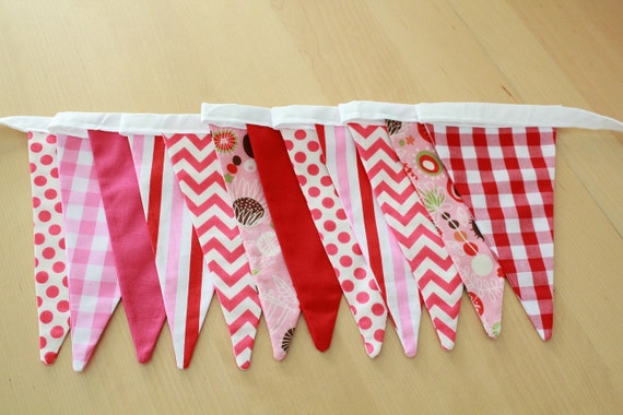 Sale fabric bunting pink red baby girl nursery by babyseblime for Nursery fabric sale
