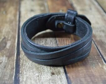 FREE SHIPPING - Black Genuine Leather Multi Strand Bracelet - Rugged Unisex Cuff Bracelet