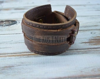 FREE SHIPPING - Brown Genuine Leather Cuff Bracelet - Rugged Unisex Cuff Bracelet