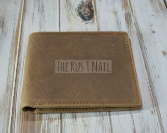 Distressed Genuine Leather Wallet - Rugged Billfold - Brown - Rugged Leather Wallet - Distressed Leather Billfold