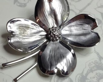 Vintage 925 silver sterling flower brooch pin