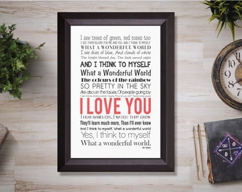 what a wonderful world lyrics, Printable wall art, instant download art, Canvas Art, Digital Download