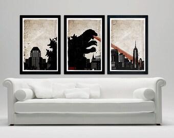 "Godzilla Movie Poster Set, 12""x18"" Vintage Look"