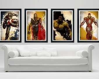 "The Avengers Inspired Poster Set, Grundge Style, Poster Set of 4, Minimalistic Design, 12"" x 18"" Ironman, Hulk, Thor, Captain America"