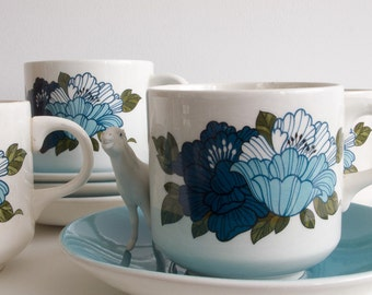 Retro set of four Barratts cups and saucers