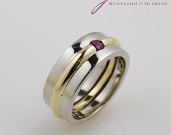 9 ct Yellow Gold and White Gold Ruby Dress Ring
