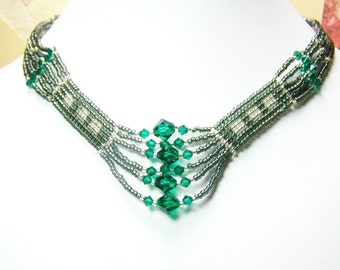 Green and Grey Beadwork Necklace Set