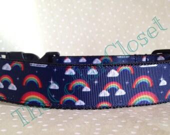 Navy Rainbow Dog Collar