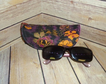 Japanese Peony Sunglass/Eyeglass Case w/Magnetic Snap -Structured & Padded Fabric Glasses Case
