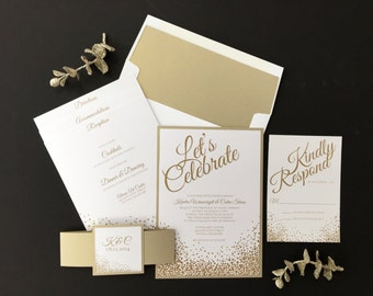 Wedding Invitation, Let's Celebrate Wedding Invitation, Modern Wedding Invitations, Wedding Invites - Invitation Sample Kit