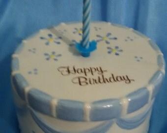 Blue Birthday Cake Ceramic Keepsake Box  On sale, was 20.00