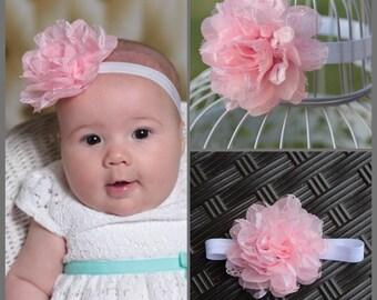Pink and white lace chiffon flower headband, Light pink and white  baby/ newborn headband , infant headband , toddler headband