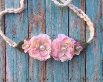 Light pink and Ivory headband,Newborn tieback headband, pink headband,ivory headband, flower tieback headband, baby tieback flower headband