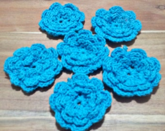 6 x Crochet Cotton Motifs Roses 3 layer Flower Applique Blue Craft/Scrapbooking