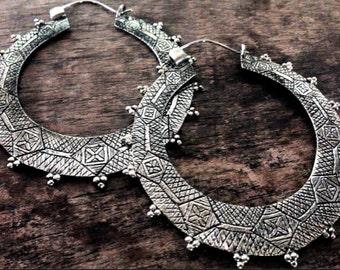 Large - Berber Gypsy Hoop Earrings -  Brass Earrings  - White Brass Earrings-Nakila Collective