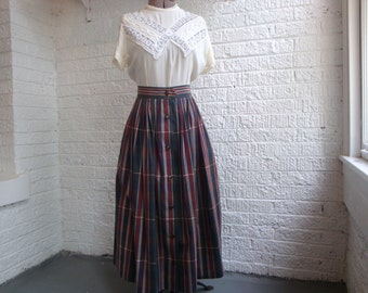 vintage nautica plaid pleated maxi skirt