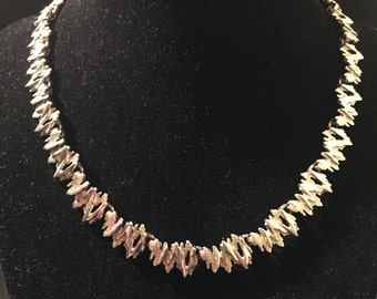 Retro sterling silver textured necklace