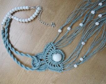 Handmade linen necklace with crochet element