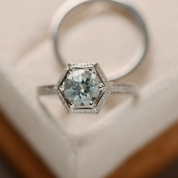Natural aquamarine ring, March birthstone, engagement ring