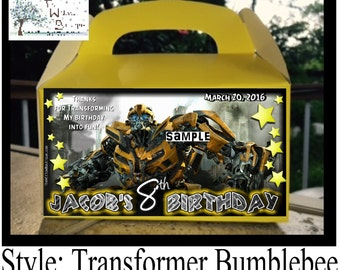 TRANSFORMERS BIRTHDAY Optimus Prime Bumble Bee Goody Box Favors or LABELS Personalized with your childs name etc.