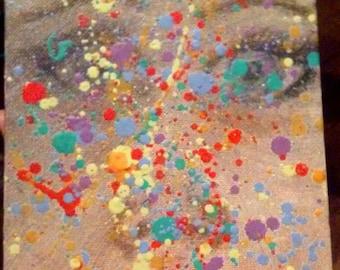 Original crayon splatter face oil painting