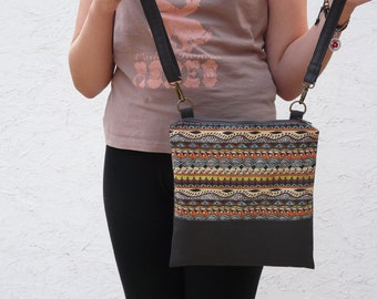 Festival bag, Crossbody bag, Printed bag, zippered canvas bag, shoulder bag - colorful - teenager bag - women bag