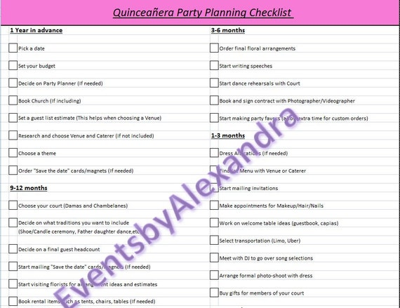 Crush image within quinceanera planning checklist printable