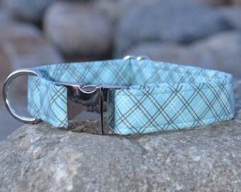 Benson. Unisex Dog Collar, Blue, Plaid, Girl, Boy, Metal Hardware