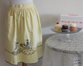 Vintage 40's 50's Mid Century Bombshell Housewife Apron Yellow Cotton Black Trim Embroidered Cross Stitch Victorian Tea Party