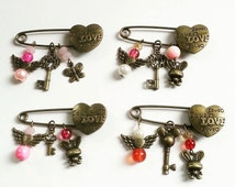 Bronze Love Heart Safety Pin Broch - Angel Key Bunny Butterfly