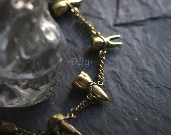 Four Human Teeth Bracelet by Defy / Adjustable Cuff Jewelry / Handmade Brass