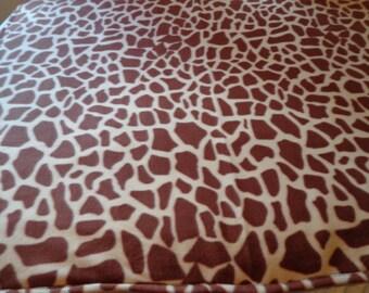 Handmade Giraffe Print Fleece Blanket - New