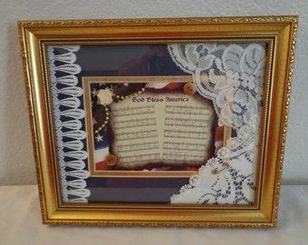 "Stunning Handmade Victorian Style ""God Bless America"" Wall Hanging"