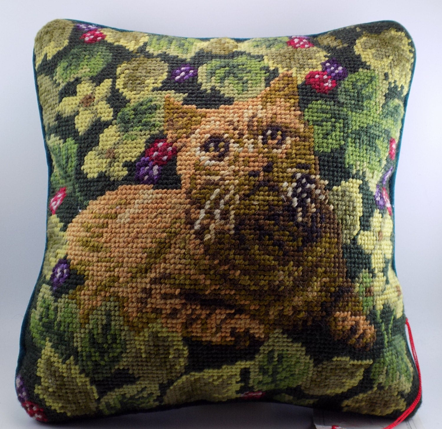 Throw Pillow Cushion Needlepoint Brown Tabby Cat by SomethingBolde