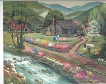 Spring Country Cabin and Barn in the Smoky Mountains Stream