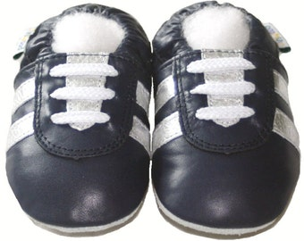 Free shipping Jinwood Soft Sole Leather Baby Shoes Infant Toddler Kids Children Boy Gift Sport Navy Shoes