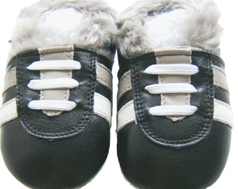Free shipping Jinwood Soft Sole Leather Baby Shoes Infant Toddler Kids Children Boy Gift Sport Black Fur Shoes