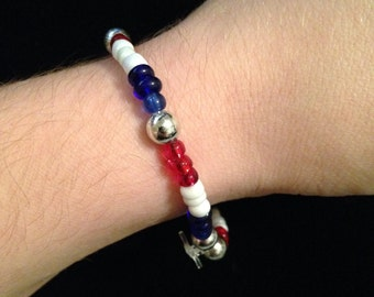 SALE! (see description) Red, White and Blue Bracelet