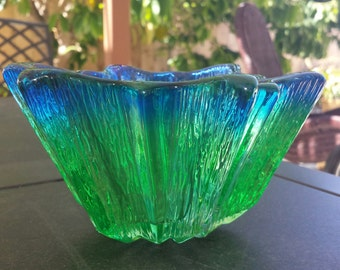 Vintage glass  blue green plate