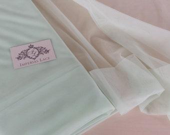 "Lingerie light green tulle fabric - 55"" (140cm) wide - sold per metre MK00021"