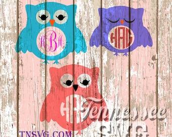 Monogram Owl SVG, Monogram Owl PNG, Monogram Owl Stencil, Owl SVG, Owl Template, Cricut Design Space, Silhouette