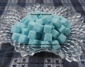 Miss Donna's Blue Colored Mini Sugar Cubes - 80 Cubes Per Bag - Great for Weddings, Tea Parties, Special Events, Toasts & Favors