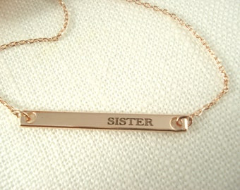 Personalized Rose gold bar necklace...Engraved name plate Bar, sorority, best friend gift, wedding, bridesmaid gift