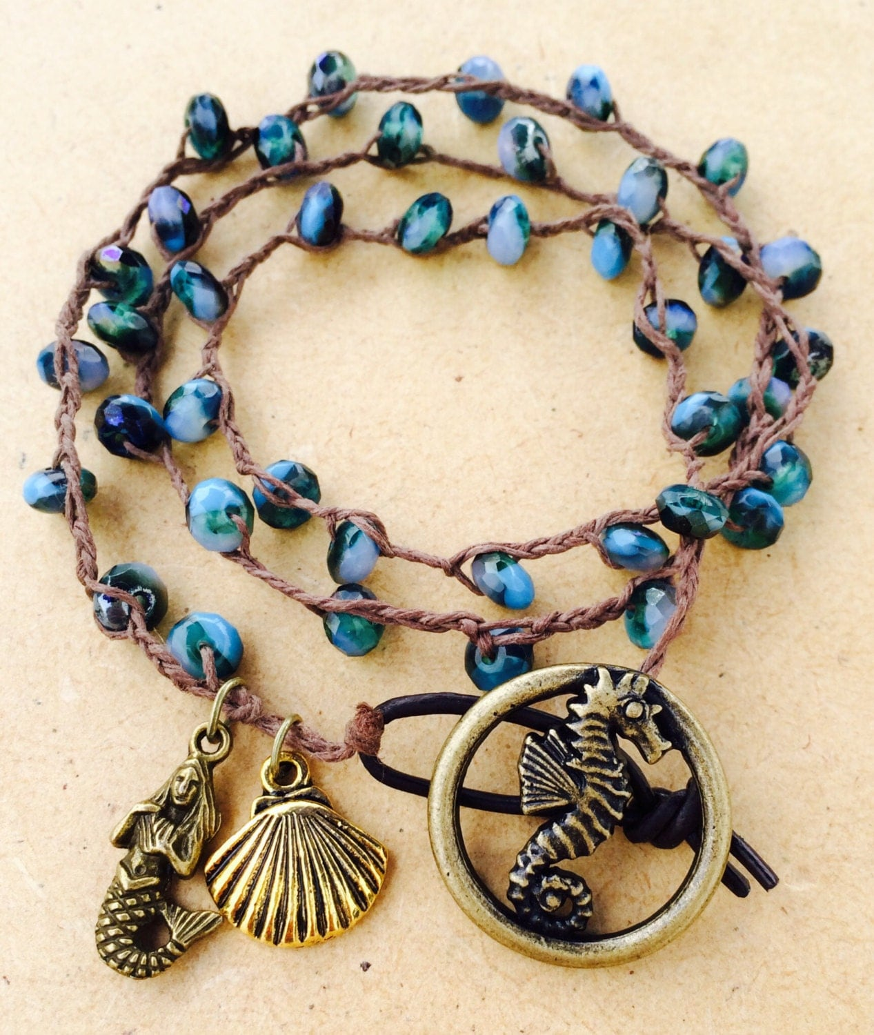 Seahorse & Mermaid braided Wrap Bracelet Rustic Beach