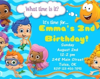 bubble guppies birthday invitation bubble guppies invite, Birthday invitations
