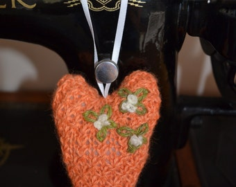 Hanging Heart Knitting Pattern : Knit hanging heart Etsy