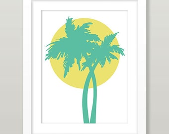 Coconut Tree Sunset Art, Guam Coconut Tree Sunset Wall Art, Guam Palm Tree Wall Art, Guam Print, Guam Sunset Print