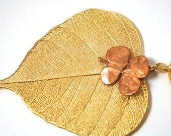 Necklace pendant made with leaf dipped in 24k gold