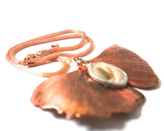 Copper dipped leaf pendant necklace
