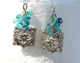 Apatite sterling silver earrings; OOAK earrings